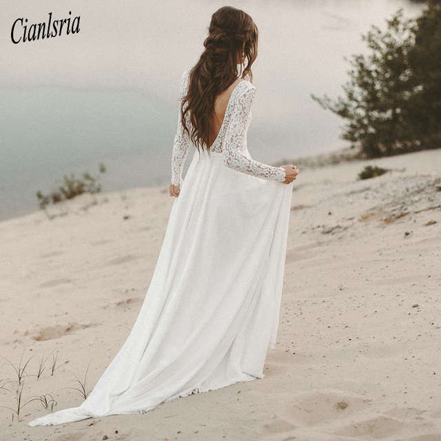 Boho Beach Wedding Dress Long Sleeve A Line Vintage Unique Lace