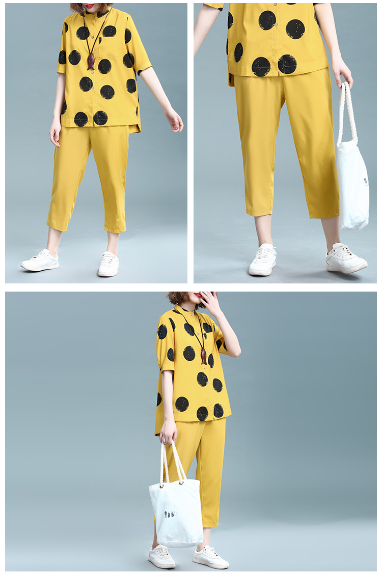 2019 Summer Cotton Linen Two Piece Sets Outfits Women Plus Size Dot Print Shirts And Pants Suits Casual Vintage 2 Piece Sets 35