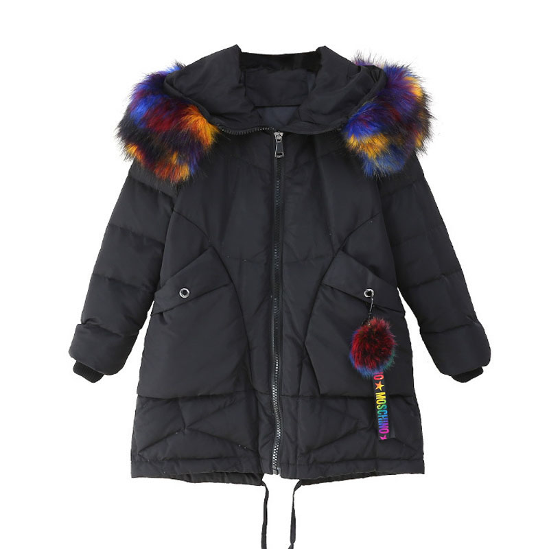 Big Fur Collar Hooded Mid-Long White Duck Down Parkas 2018 New Winter Kids Girls Thicken Warm Down Jacket Snow Quilted Jackets 2016 new brand child girls winter white duck down jackets coats thick hooded outwar waistband kids girls warm down jacket parkas