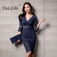 Summer Women Dress Blue Khaki Flare Sleeve V Neck Mesh Lace Dresses Office Lady Sexy Party Bodycon Bandage Pencil Dress Vestidos