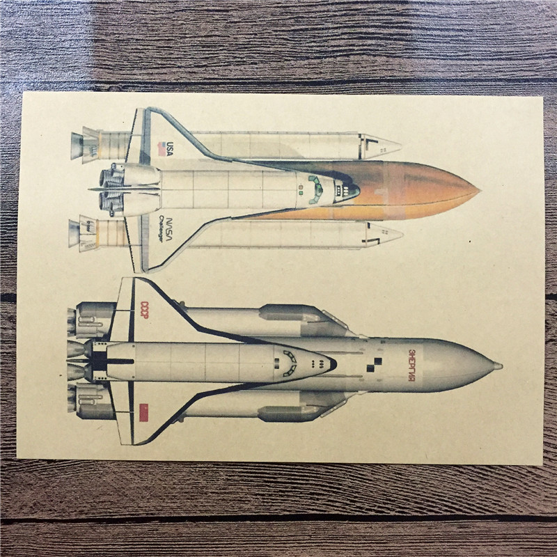 Cartel de la sala de estar del misil espacial WorldWarII aviones Vintage Kraft Paper Retro Wall Art Craft Sticker fighter 42x30cm ZIP-0030