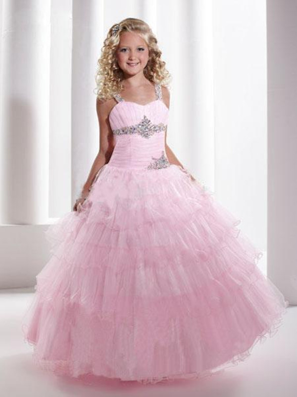 Lovely Pink Tulle Layers Flower Girl Dress A Line Ruffle Crystals for Girls' Pageant Party Dress First Communion Gown Custom new pink custom flower girls dresses tulle handmade flower a line girls pageant birthday dress first communion gown