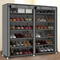 Double Rows Large Shoes Storage Cabinet Non woven Cloth Shoes Organizer Shelf DIY Assembly Dust proof Shoes Shelves Shoe Rack