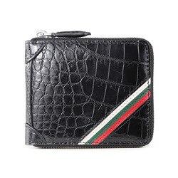Brieftasche männer flut marke ultra-dünne leder zipper große kapazität kurze führerschein kleine brieftasche anti- diebstahl pinsel krokodil