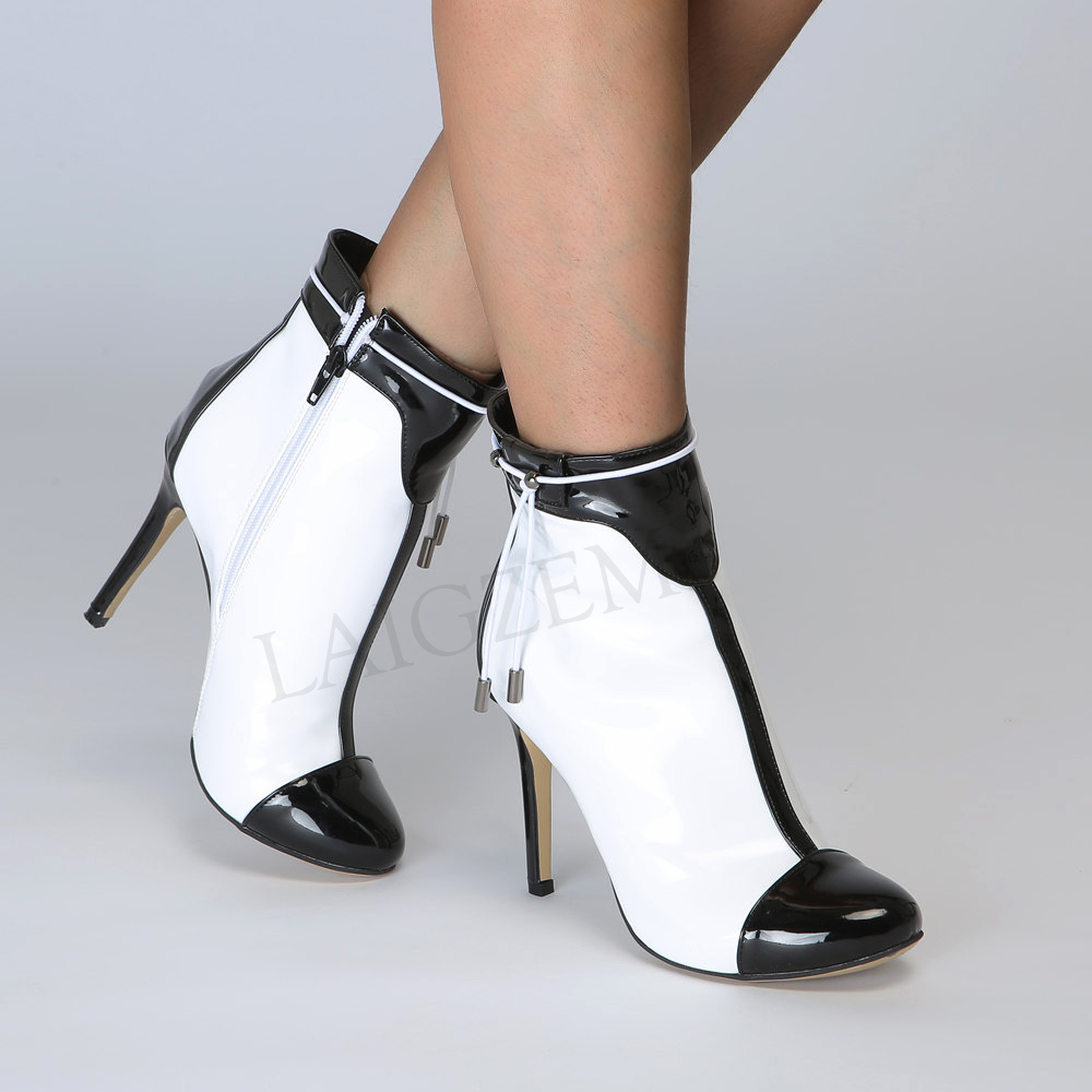 Sexy Black & White High Heel Fashion Boots Shoes Woman LAIGZEM (5)
