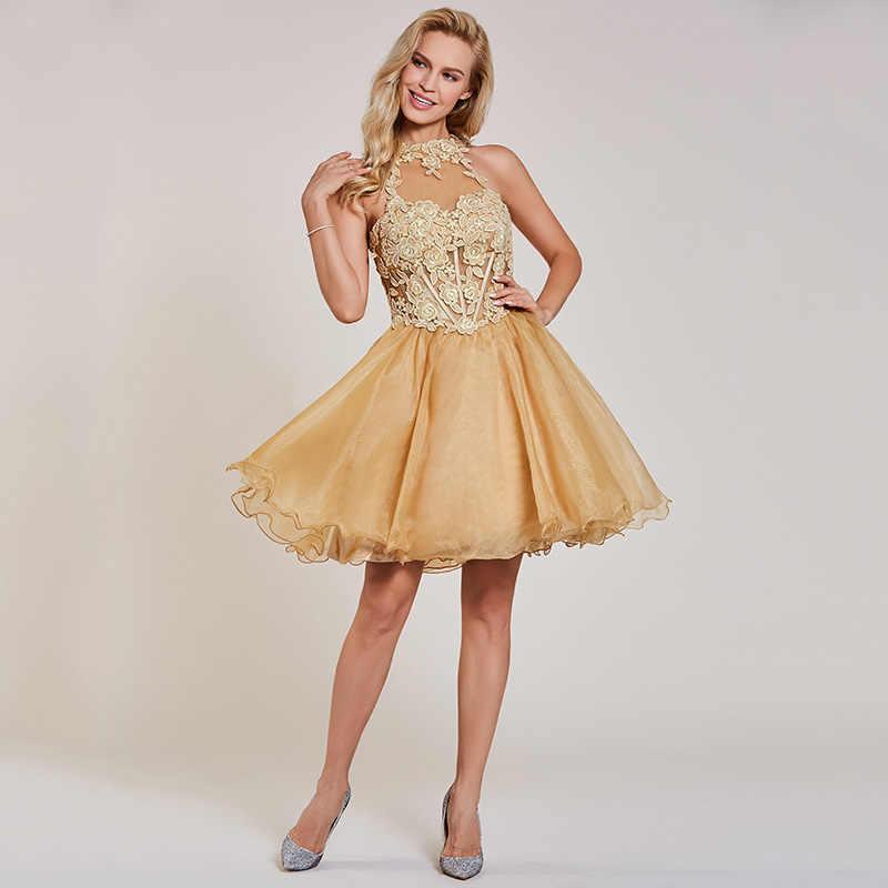 Tanpell אפליקציות שמלת קוקטייל שמפניה הלטר צוואר שרוולים הברך אורך קו שמלת ליידי שיבה הביתה קצר קוקטייל שמלות