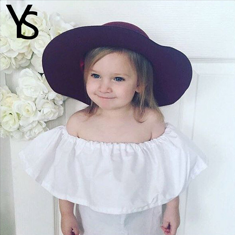 9m 12T Baby Girls Off The Shoulder White T Shirt Shirt Kids Top Cute Children Clothes