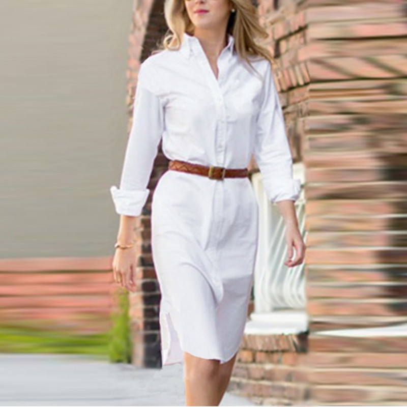 New arrival vestidos 2017 women summer button turn down Women s long sleeve shirt dress