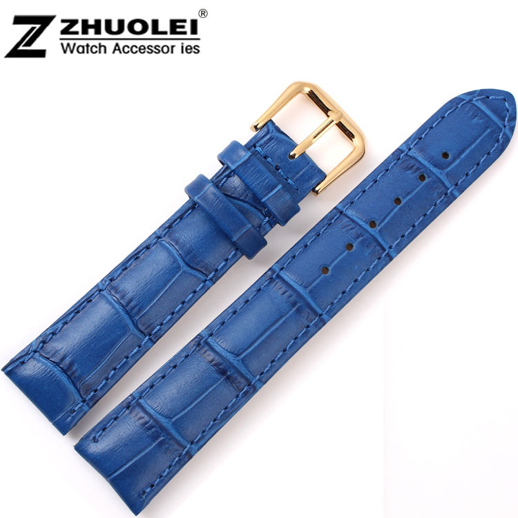 18mm New High quality Blue Alligator Pattern Genuine Leather Watch Bands Straps Bracelets Gold Deployment Clasp Buckle 16mm 18mm 20mm new bule alligator grain genuine leather watch band strap bracelets gold deployment buckle clasp free shipping