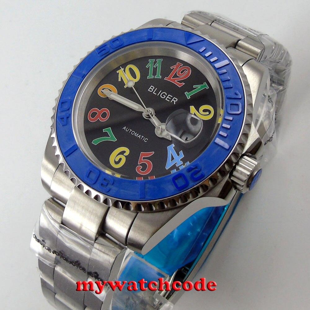 40mm Bliger black dial sapphire glass ceramic bezel date automatic mens watch139 цена и фото