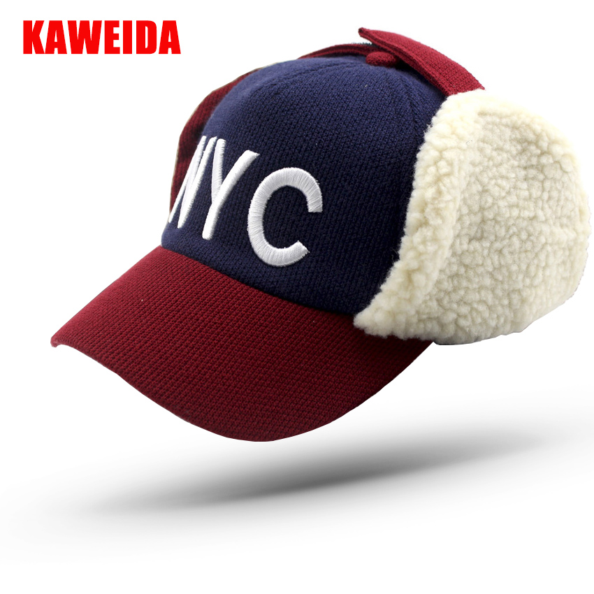 2018 Winter Warm NYC Kids Baseball Caps With Ears Fur Hat Children  Casquette Snapback Ushanka Russian Hat 50 To 54Cm-in Baseball Caps from  Apparel ... c673973780b