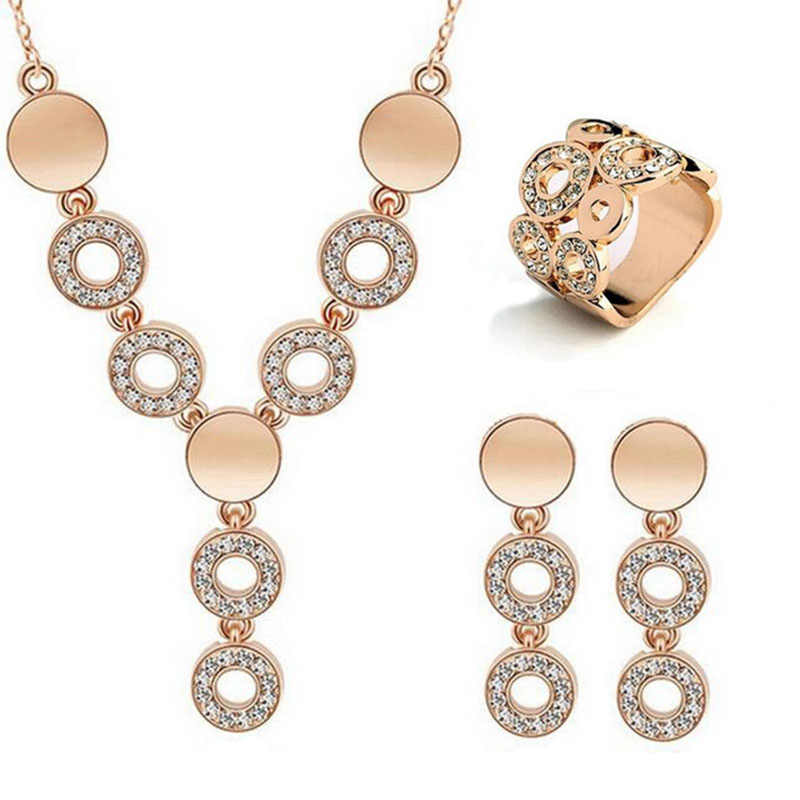 2018 Fashion Jewelry Set Necklace Earrings Rings For Women Trendy Rose Gold-color Crystal Round Shape Jewelry Free Shipping
