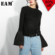 [EAM] 2019 New Spring Round Neck Long Flare Sleeve Black Knititng Split Joint Brief Slim T-shirt Women Fashion Tide JO26501(China)