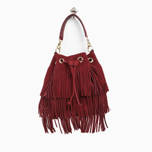 Womens crossbody bags for womens fringed  vintage small drawstring bucke bags for women messenger shoulder purple women leather