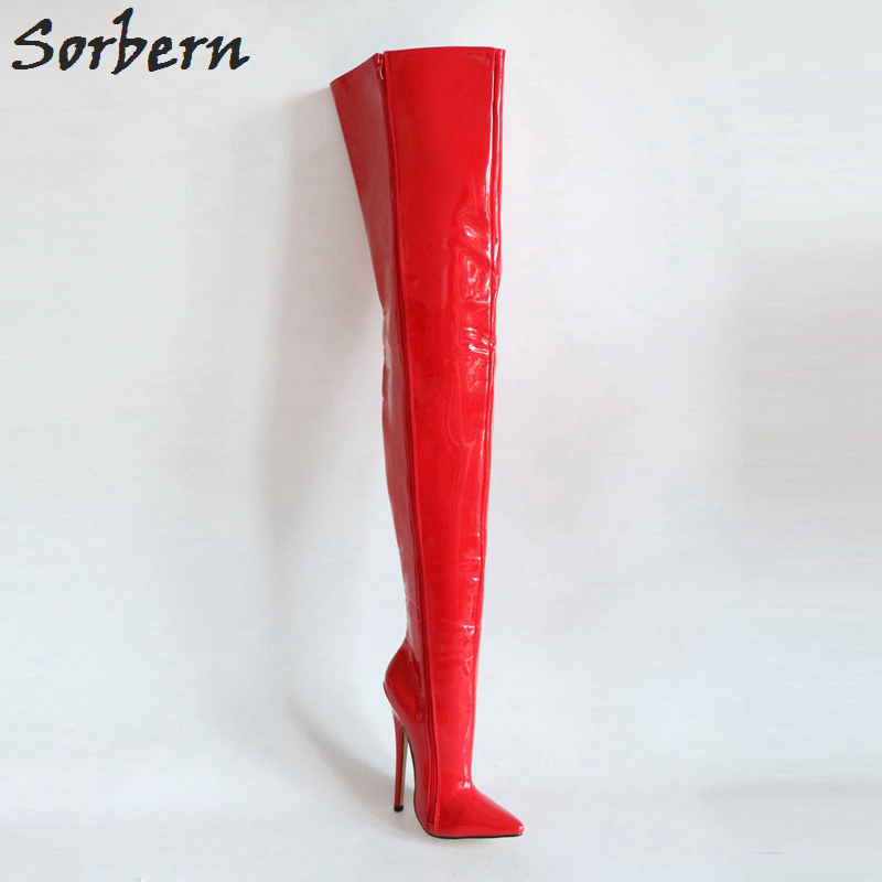 Pierna Cm 18 rojo De Para Encima Bota Entrepierna Stiletto La Botas Brillante Color Altas Las Muslo Mujeres Personalizado Por Sorbern Rodilla Rojo Custom TqPwaBqF