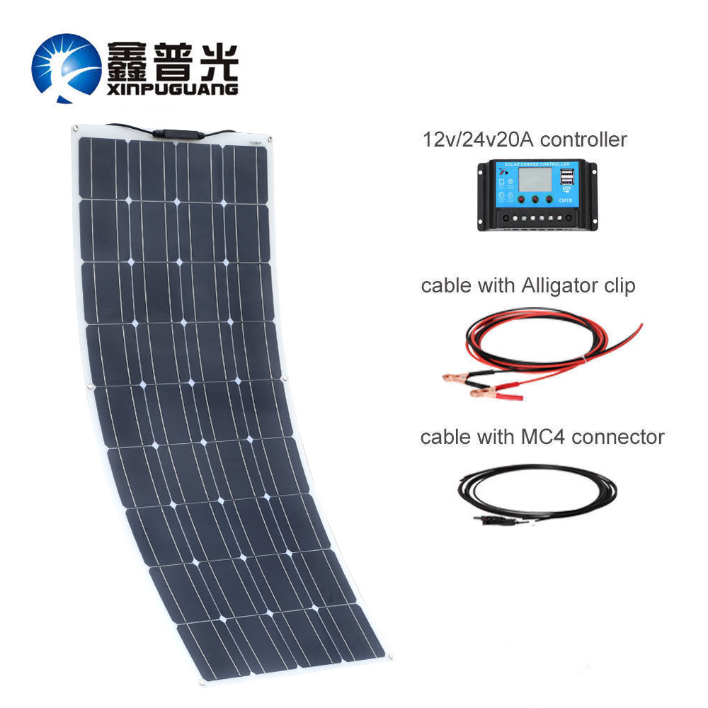 XINPUGUANG 100W 18V Monocrystalline Solar Cell Flexible for Car/Yacht/Steamship 12V 24 Volt 100 Watt Solar Battery Solar systemsXINPUGUANG 100W 18V Monocrystalline Solar Cell Flexible for Car/Yacht/Steamship 12V 24 Volt 100 Watt Solar Battery Solar systems