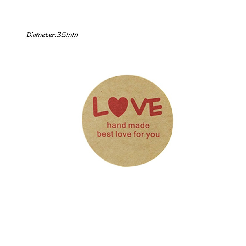 Купить с кэшбэком 100PCS/lot Round Vintage Kraft Label Sticker Thank you DIY Multifunction Adhesive Packaging Sealing Label Sticker Gift Stickers
