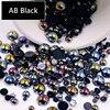 AB الأسود نصف اللؤلؤ مختلط الحجم من 1.5 مللي متر إلى 10 مللي متر الحرفية ABS الراتنج فلاتباك نصف دائري تقليد اللؤلؤ مسمار لتقوم بها بنفسك الديكور