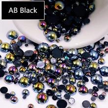 AB черная половина жемчуга смешанных размеров от 1,5 мм до 10 мм Ремесло ABS Смола плоская задняя сторона полукруглые Имитационные жемчужины