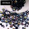 AB שחור חצי פרל מעורב גודל מ 1.5mm כדי 10mm קרפט ABS שרף Flatback חצי עגולות נייל DIY קישוט