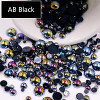 Perlas de imitación para decoración de uñas, tamaño mixto de 1,5mm a 10mm, manualidades de resina ABS, parte posterior plana, Media redonda, AB Black