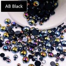 AB siyah yarım inci karışık boyutu 1.5mm ila 10mm Craft ABS reçine Flatback yarım yuvarlak taklit inciler tırnak DIY dekorasyon