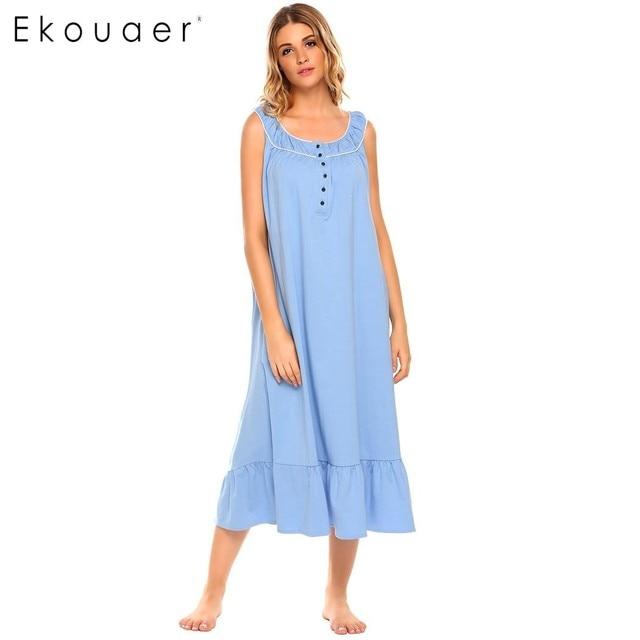 Ekouaer New Casual Loose Maxi Nightgown Women Sleeveless Solid Ruffle Hem Button Long Sleepware Summer Patchwork Sleepwear