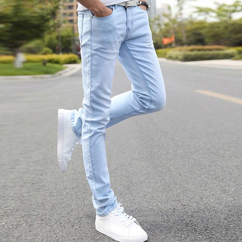 2016 Fashion Classic Sexy Spring Summer Light Blue Young Men Sky Blue  Skinny Jeans Man Slim - Online Buy Wholesale Sky Blue Skinny Jeans Men From China Sky Blue
