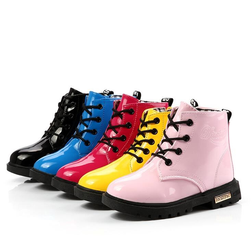 Autumn Winter Kids shoes Classic Children Martin boots Baby Boys Girls shoes Snow boots PU Leather Rain Boots Flats Sneakers 060 kids shoes girls boys pu leather lace up high children sneakers girl baby shoes sport autumn winter children shoes
