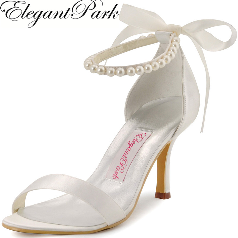 Summer Sandals for women EP11053 Ivory High Heel Pearls Ribbon Lace Up Shoes Satin Wedding Evening Party Shoes Woman Sandals free shipping ep2107 ivory women s open toe stiletto high heel satin flowers pearls bridal wedding sandals