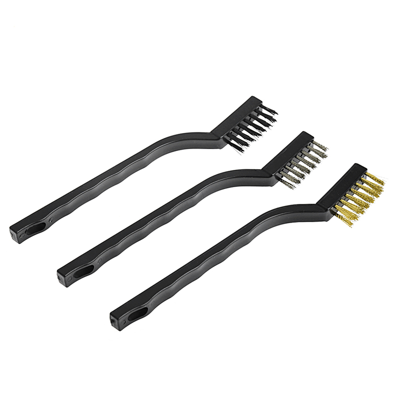 3 Pcs Mini Wire Brush Steel Brass Set Nylon Cleaning Polishing Detail Metal Rust
