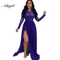 Adogirl 2018 Stylish Backles Xem Qua Sequined Đảng Dresses Sexy Dài Dress Tầng Length Evening Đảng Dress Vestidos