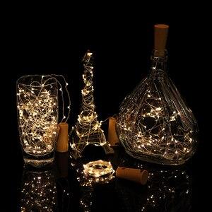 Image 3 - 6 Pcs Wein kork Lichter mit 20 LED Silber Kupfer Draht Girlande Fee String Lichter für Home Party Weihnachten Hochzeit dekoration