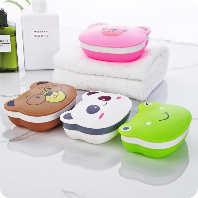 1 pz Bagno Soap Box di Plastica Bagno Wc Fumetto Scatola di Sapone Sapone Creativo Portatile Da Viaggio Impermeabile