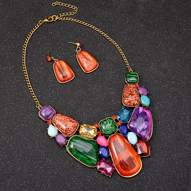 Colorful Gems Bohemian Necklace & Earrings Set