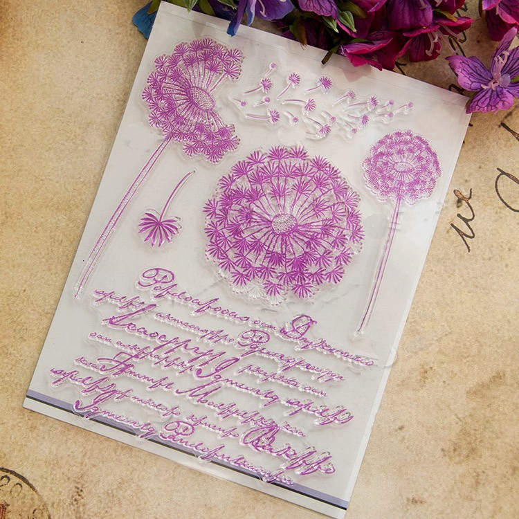 scrapbook DIY Dandelion  ACRYLIC VINTAGE clear STAMPS FOR PHOTO timbri SCRAPBOOKING stamp carimbos tampon encreur jwhcj vintage cat date wood roller stamps for children diy handmade scrapbook photo album diary book decoration students stamps