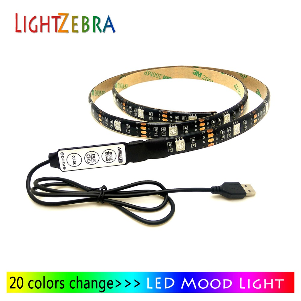 LED mood light strips for TV PC monitor with usb cable mini 3key controller 5V powered backlight strip