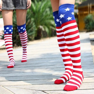 Fashion Woman American National Flag Cosplay Socks Striped Five Star Sports Socks Hip-hop Jazz Knee-High Socks