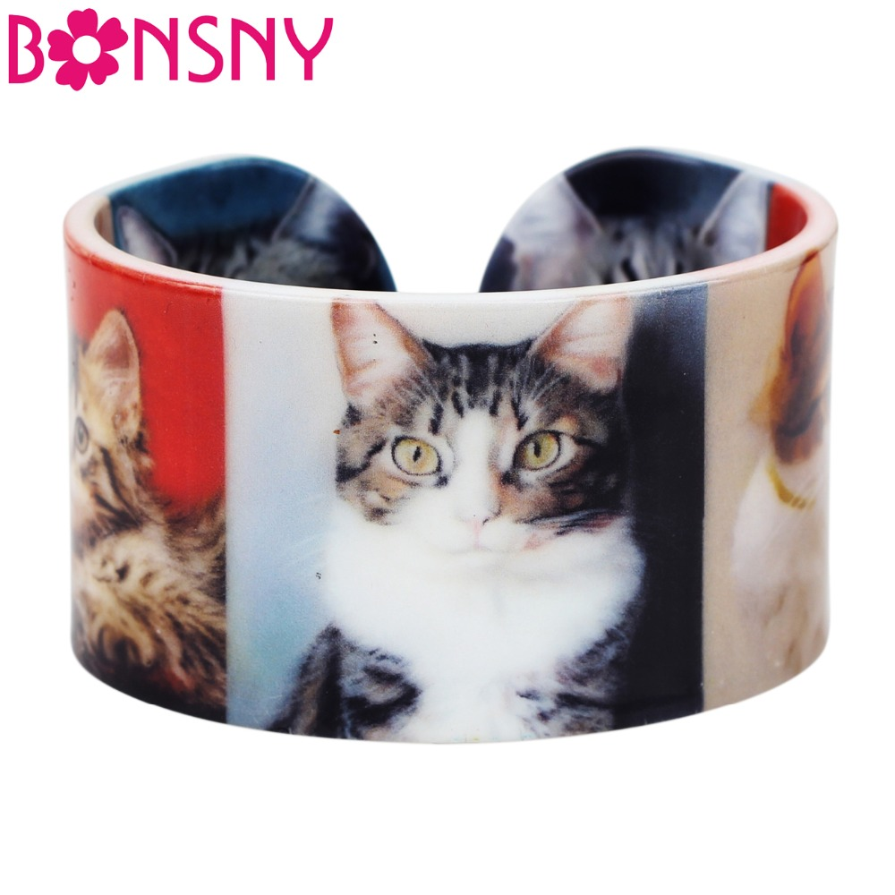 Bonsny Plastic Cat Kitten Bangles Bracelets Fashion Indian Wholesale Craft Jewelry For Women Girl Ladies Animal Accessiories
