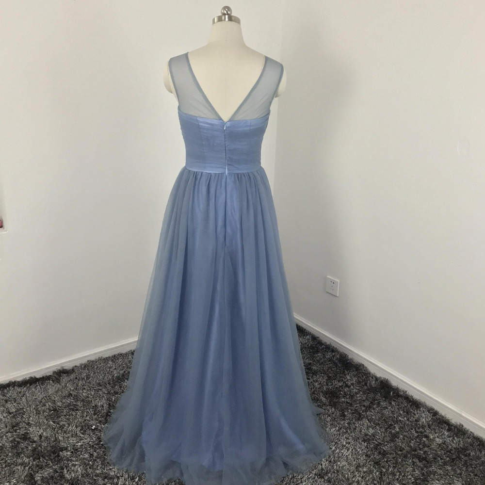 Elegant Dusty Blue Tulle Bridesmaid Dress