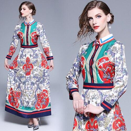 Printemps Europe et amérique mode imprimé femmes robe 2019 nouveau Style automne Xxl femme tempérament mince fond longues robes