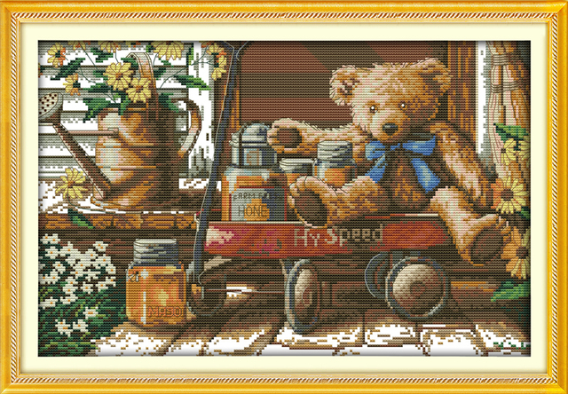 joy sunday cartoon style honey bear counted cross stitch christmas stockings handwork embroidery kits for craft - Cross Stitch Christmas Stockings