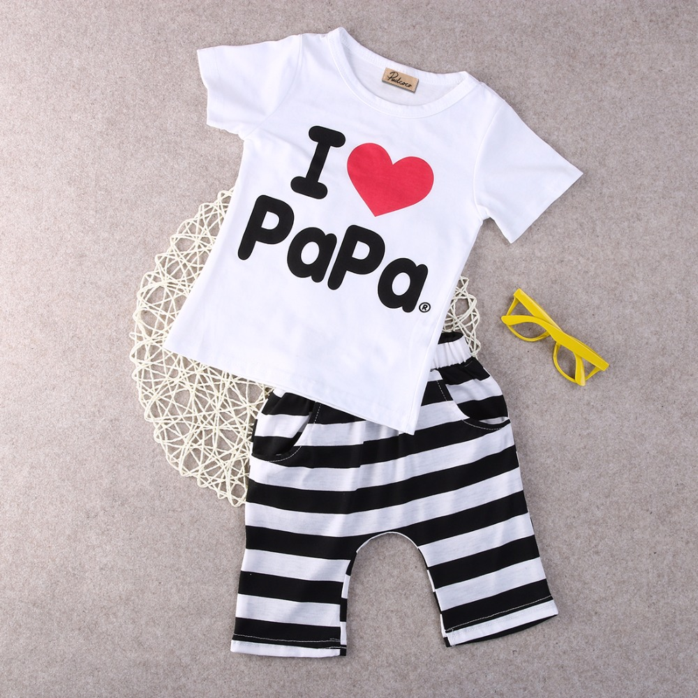 Retail-1set-2015-Children-Clothing-Summer-Set-boys-girls-I-Love-Papa-and-Mama-short-sleeve-t-shirtpants-suit-kids-pajamas-set-3
