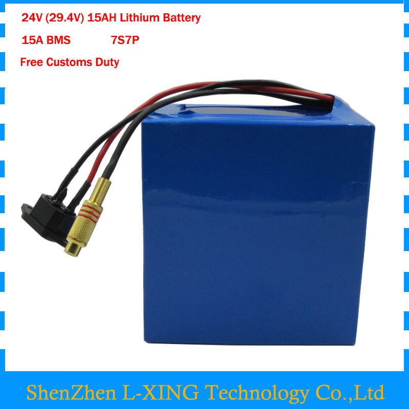 24v 15ah battery pack lithium 24v 350w e bike li-ion 24v lithium bms electric bike battery 24v 15ah 250w motor +2A charger new high quality 29 4v 2a electric bike lithium battery charger for 24v 2a lithium battery pack rca plug connector charger