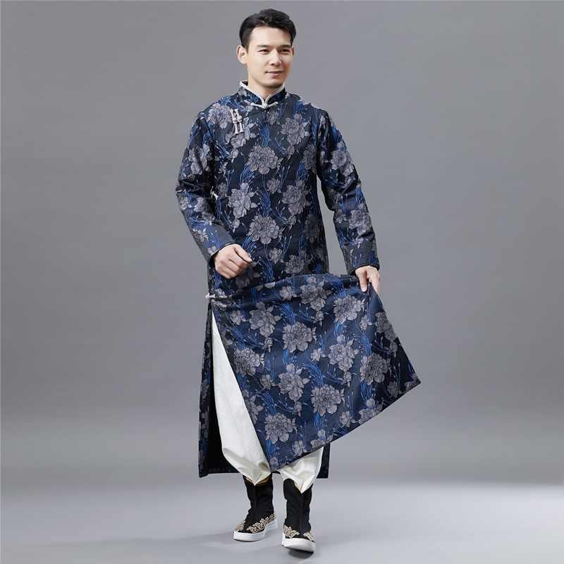 Традиционный китайский костюмы для мужчин мужской пальто Верхняя одежда oriental зима Тренч Одежда Тренч 2018 AA4270