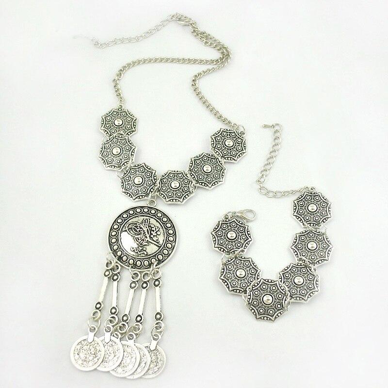 Boho Jewelry Tribal Jewelry Set Antique Silver Coins Choker Necklace Bracelet Set Bohemian Ethnic Jewelry Set