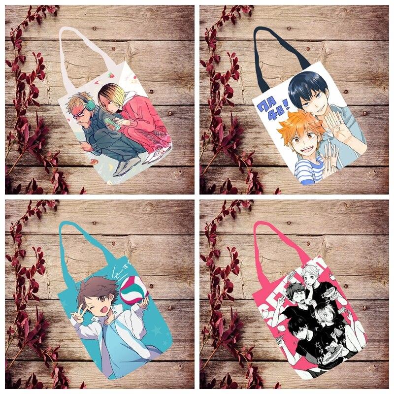 IVYYE 1PCS Haikyuu Fashion Anime Canvas Shoulder Bags Casual Shopping Bag Cartoon Tote Handbag Travel Lady Girl New