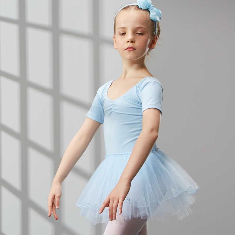 ผ้าฝ้ายชุดบัลเล่ต์เต้นรำชุด Tutu สำหรับสาวเด็กเด็กคุณภาพสูงแขนสั้น Tulle เต้นรำ