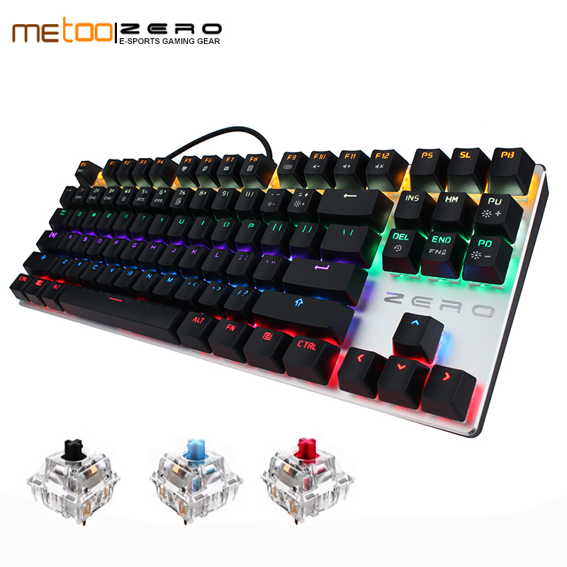 ME TOO original gaming Mechanical Keyboard 87 keys usb Wired keyboard LED blue/red/black switch Keyboard English/Russian/Spanish me too gaming keyboard 87 104 keys blue red black switch wired led backlight mechanical keyboard for computer laptop games gamer