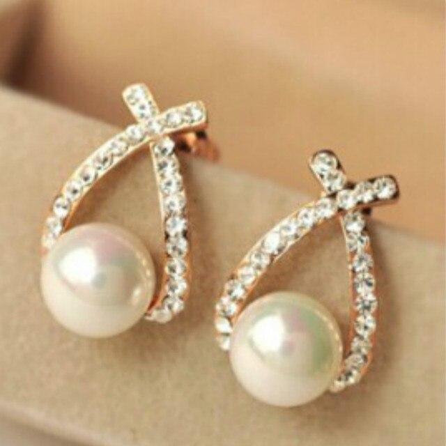 Женские серьги-гвоздики с искусственным жемчугом и кристаллами; женские серьги золотого цвета; модные ювелирные изделия для вечеринки; Perle brincos